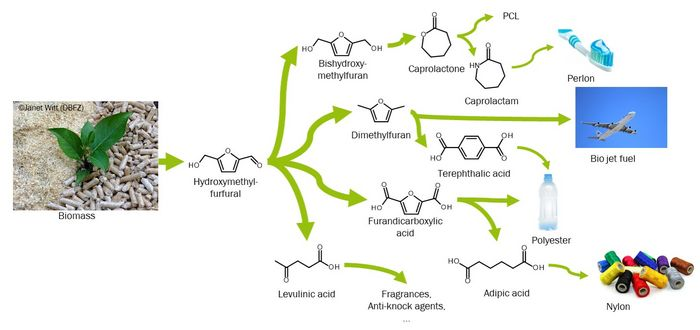 Basic chemicals and subsequent products that can be obtained from biomass