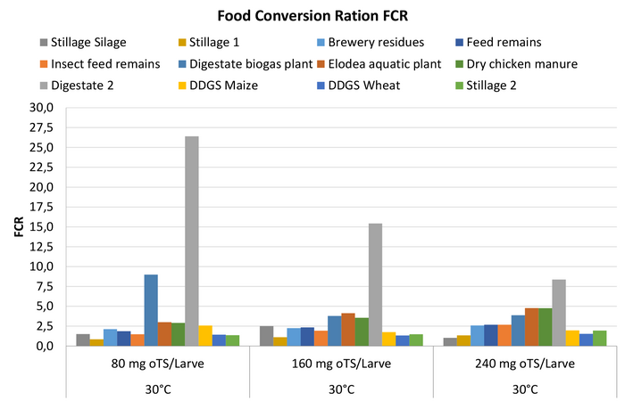 Food conversion ratio of the investigated substrates as a function of feed intake