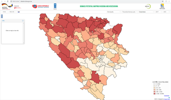 GIS map: Interactive web atlas for the visualization of biomass potentials in Bosnia and Herzegovina